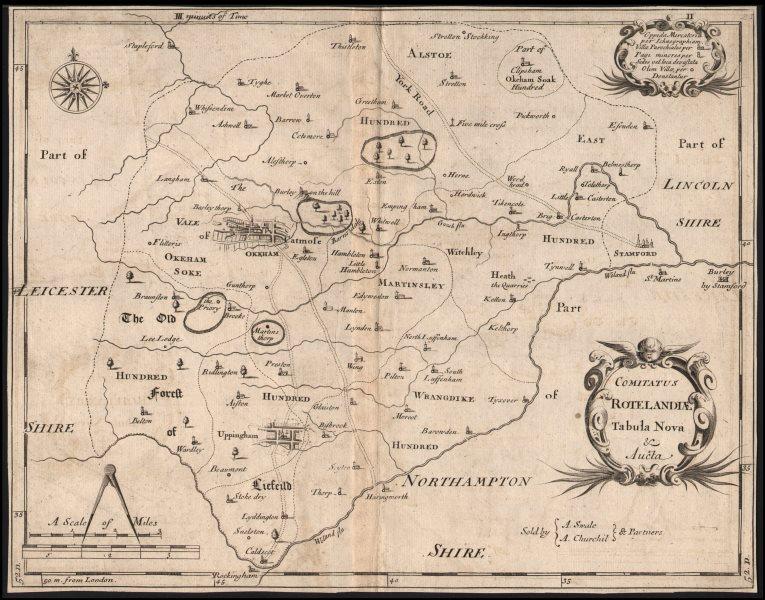 Associate Product Rutland. 'COMITATUS ROTELANDIAE' by ROBERT MORDEN. Oakham & Uppingham c1753 map