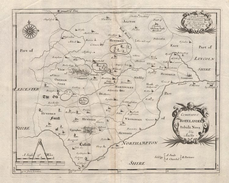 Associate Product Rutland. 'COMITATUS ROTELANDIAE' by ROBERT MORDEN. Camden's Britannia c1695 map