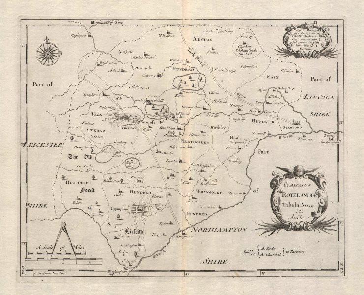 Associate Product Rutland county map 'COMITATUS ROTELANDIAE' by ROBERT MORDEN. Uppingham 1695