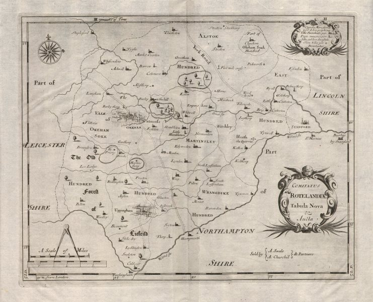 Associate Product Rutland county map 'COMITATUS ROTELANDIAE' by R. MORDEN. Camden's Britannia 1695