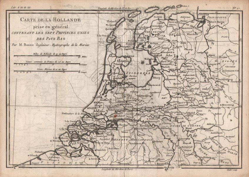 """Associate Product """"Hollande prise en général…"""" 7 United provinces. Netherlands. BONNE c1780 map"""