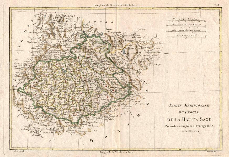 """Associate Product """"Partie Méridionale du Cercle de la Haute Saxe"""". Upper Saxony. BONNE 1787 map"""