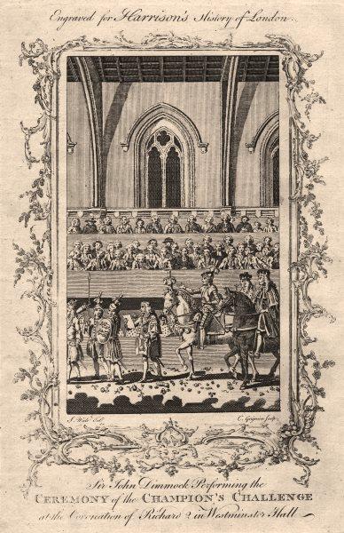 Sir John Dymoke, King's Champion. Richard II's coronation. Westminster Hall 1776