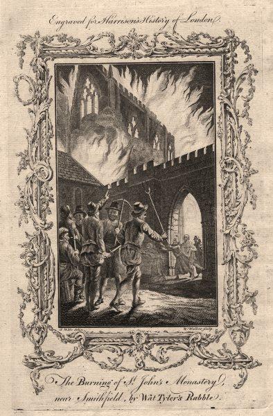 Associate Product Wat Tyler's rebels burning St John's Monastery, Smithfield. Peasants revolt 1776
