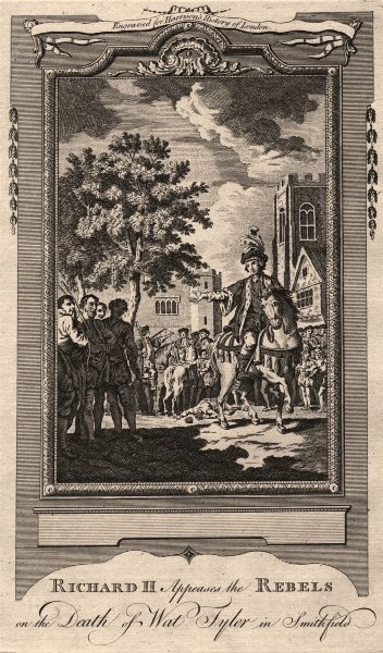 Associate Product Richard II appeases rebels. Wat Tyler's death. Smithfield. Peasants' revolt 1776