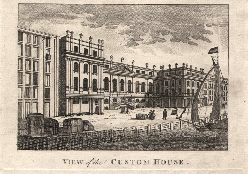 """Associate Product """"View of the Custom House"""", City of London. HARRISON 1776 old antique print"""