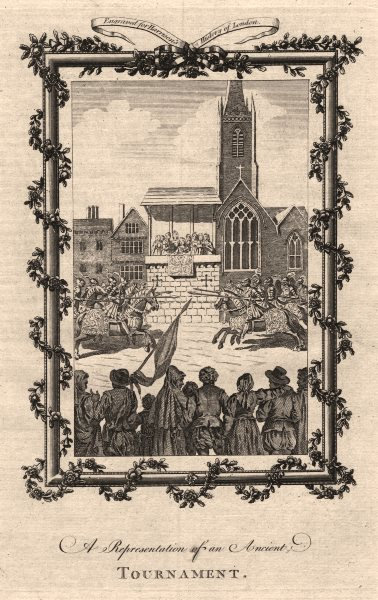 Associate Product A medieval jousting tournament in London. Knights in armour. HARRISON 1776
