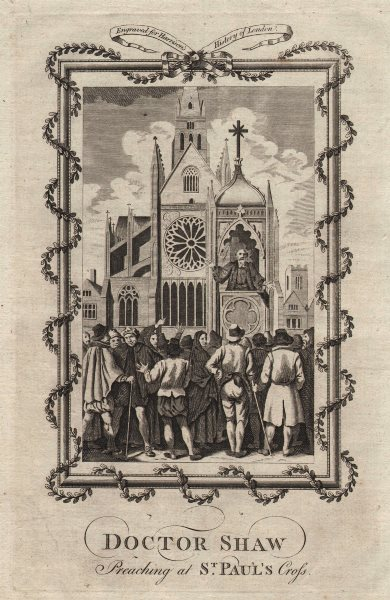 Associate Product Dr Shaw preaching at Saint Paul's Cross. Old St Paul's Cathedral. HARRISON 1776