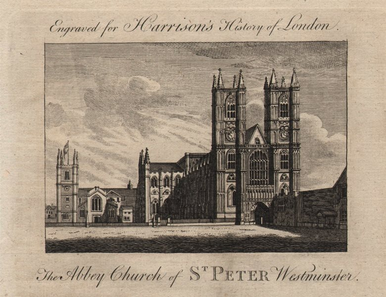 """""""The Abbey Church of St Peter, Westminster"""" Abbey, London. HARRISON 1776 print"""