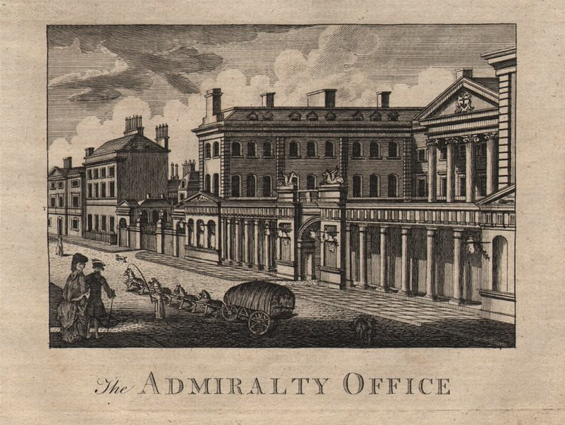 """""""The Admiralty office"""", Whitehall, London. HARRISON 1776 old antique print"""