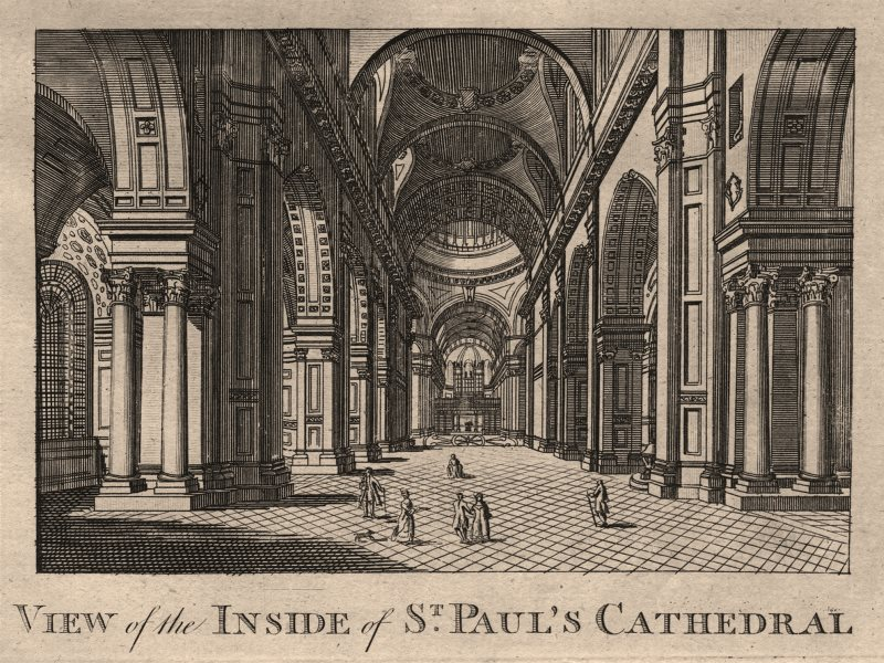 """Associate Product """"View of the inside of St Paul's Cathedral"""", London. HARRISON 1776 old print"""