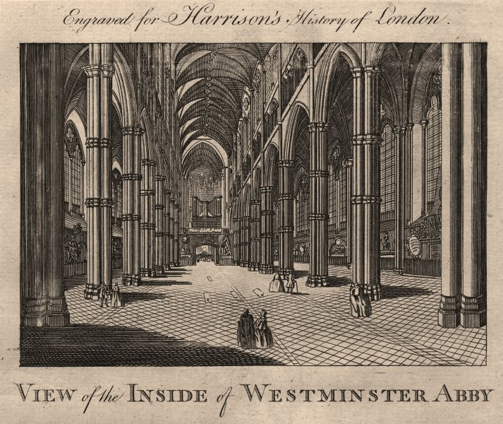 """Associate Product """"View of the inside of Westminster Abby"""" [Abbey], London. HARRISON 1776 print"""