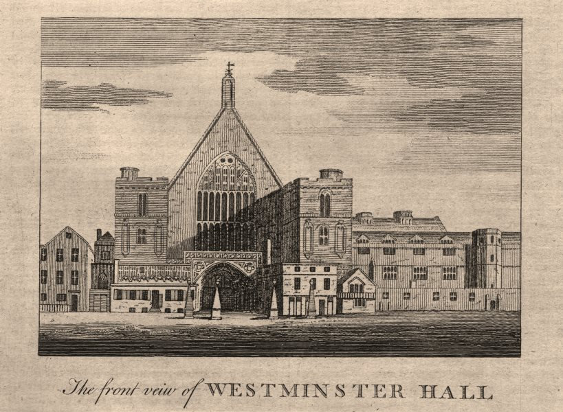 """Associate Product """"The front view of Westminster Hall"""", London. HARRISON 1776 old antique print"""