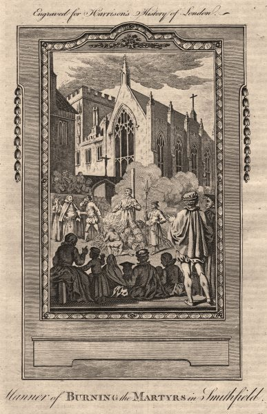 Associate Product Protestant Martyr burning at the stake in Smithfield. London. HARRISON 1776