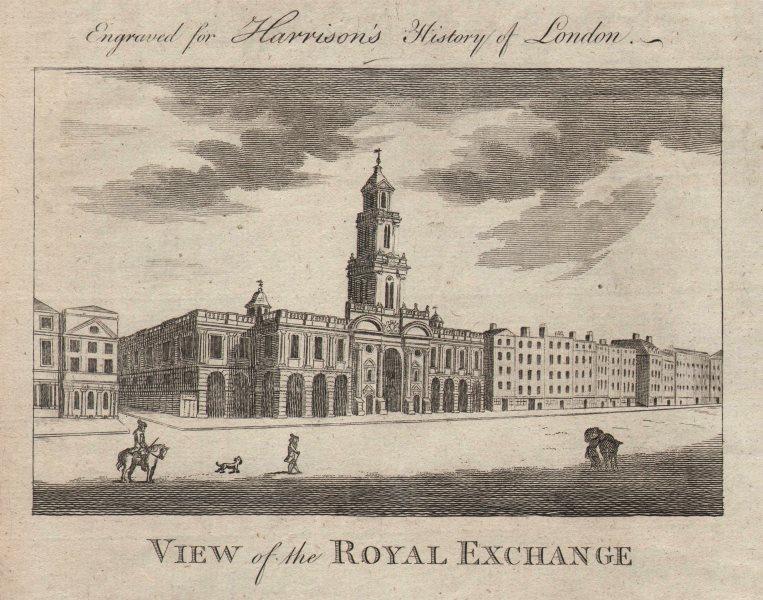 "Associate Product ""View of the Royal Exchange"". Jarman's building, London. HARRISON 1776 print"