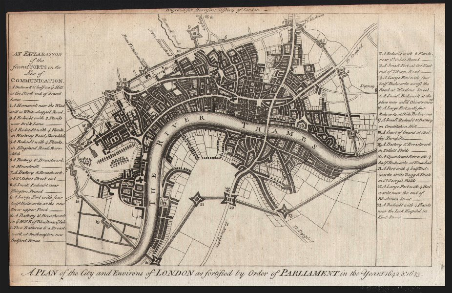 Associate Product Civil War plan of London as fortified by Parliament in 1642/3. HARRISON 1776 map