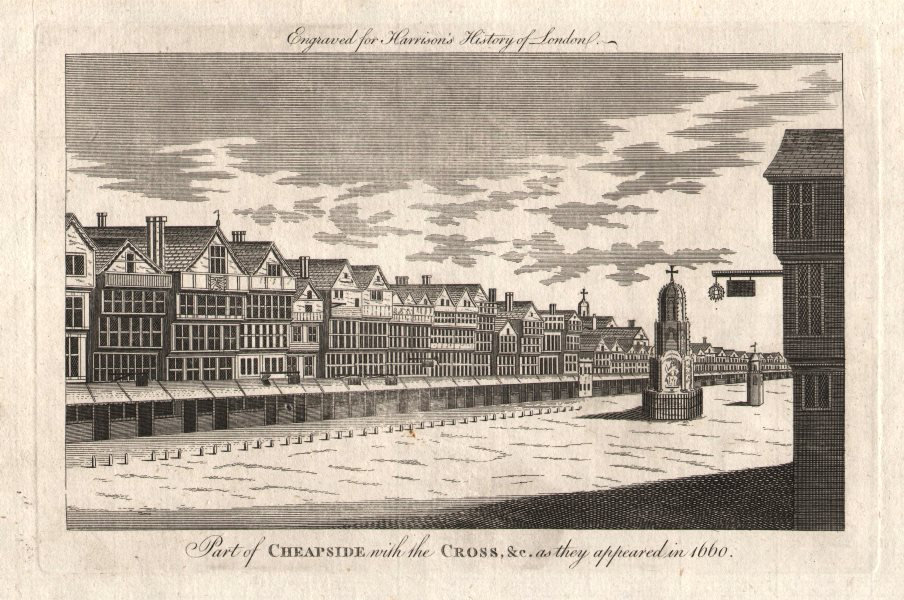 """Associate Product """"Part of Cheapside with the cross &c… in 1660"""". London. HARRISON 1776 print"""