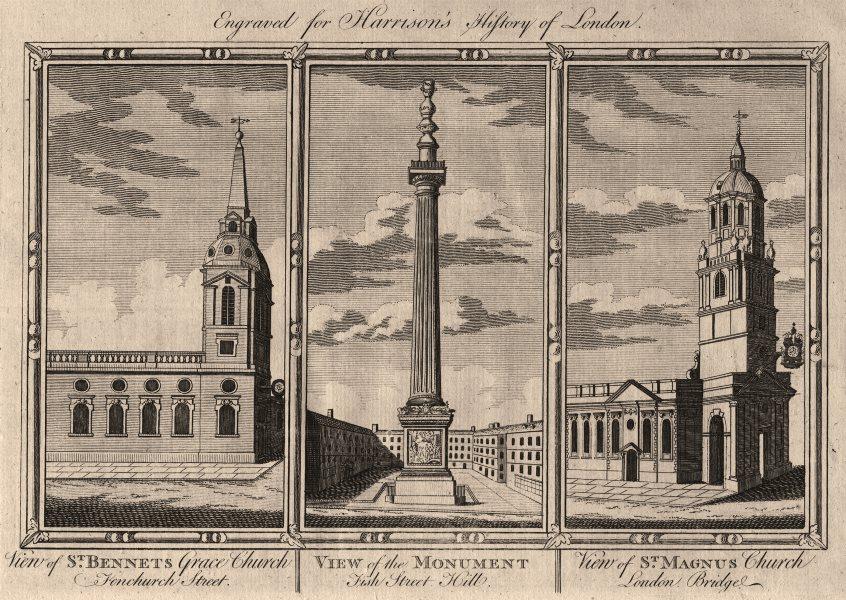Associate Product WREN CITY CHURCHES St Benet Gracechurch. The Monument. St Magnus the Martyr 1776