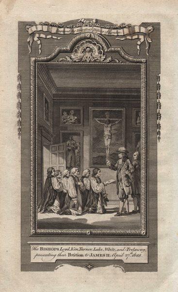 "The ""Seven Bishops"" petitioning King James II, 1688. HARRISON 1776 old print"