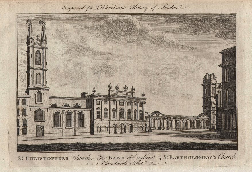 Associate Product St Christopher & St Barts churches & Bank of England, Threadneedle Street 1776
