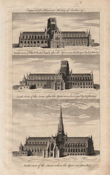 Associate Product Old St Paul's cathedral. North & South views with & without spire. HARRISON 1776