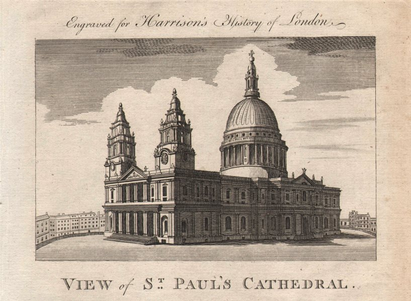 """""""View of St Paul's Cathedral"""", London. HARRISON 1776 old antique print picture"""