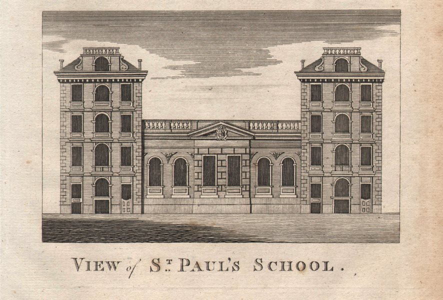 """""""View of St Paul's school"""", City of London. HARRISON 1776 old antique print"""