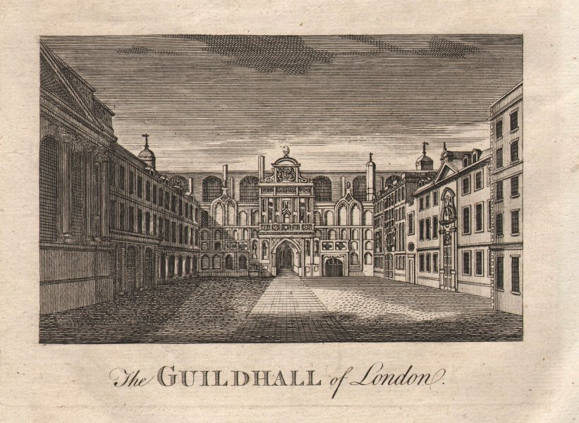 """Associate Product """"The Guildhall of London"""", City of London. HARRISON 1776 old antique print"""