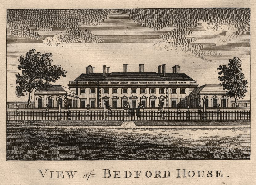 """Associate Product """"View of Bedford House"""", Bloomsbury. HARRISON 1776 old antique print picture"""