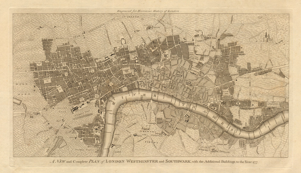 """""""A new and complete plan of London, Westminster & Southwark…"""". HARRISON 1776 map"""