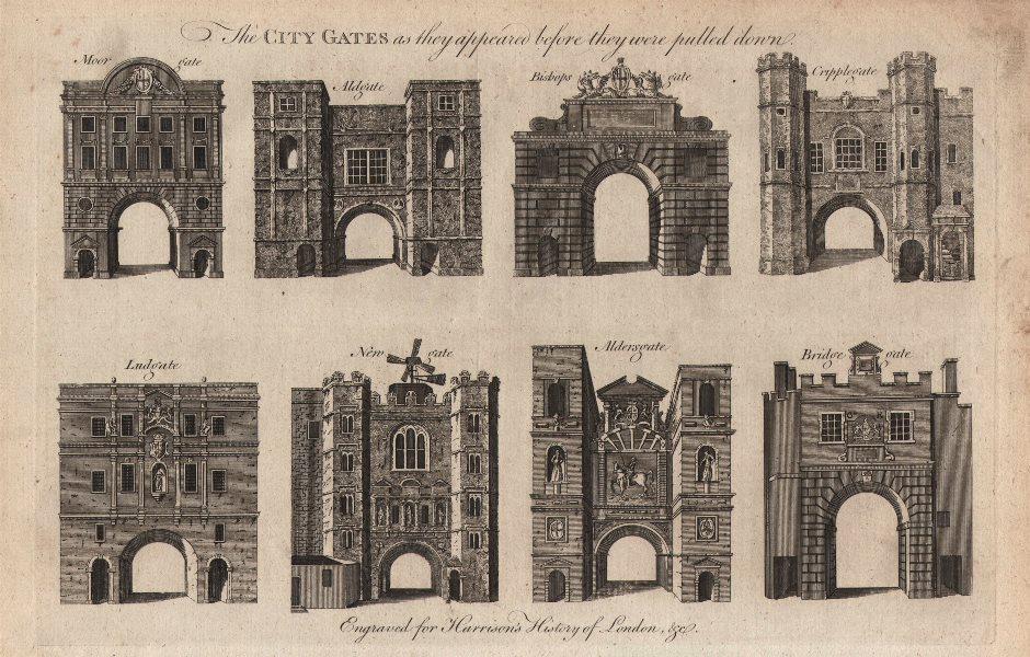 LONDON CITY GATES. Moorgate Aldgate Bishopsgate Cripplegate Ludgate &c 1776