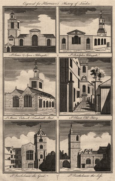 Associate Product CITY CHURCHES St Anne/Agnes Botolph Martin Outwich Olave Jewry Bartholomew 1776