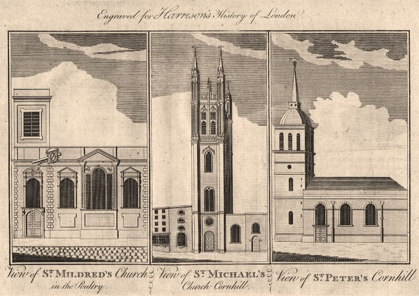 Associate Product WREN CHURCHES St Mildred Poultry.St Michael, St Peter upon Cornhill. London 1776