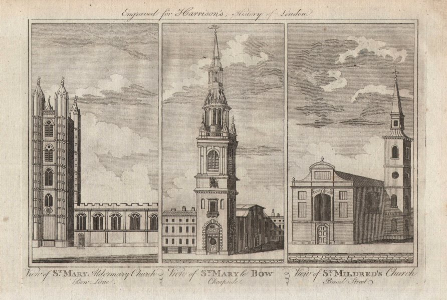 Associate Product WREN CHURCHES St Mary Aldermary. St Mary-le-Bow. St Mildred's, Bread St 1776