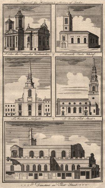 Associate Product LONDON CHURCHES St John Smith Square Benet Martin Ludgate Bride Dunstan 1776