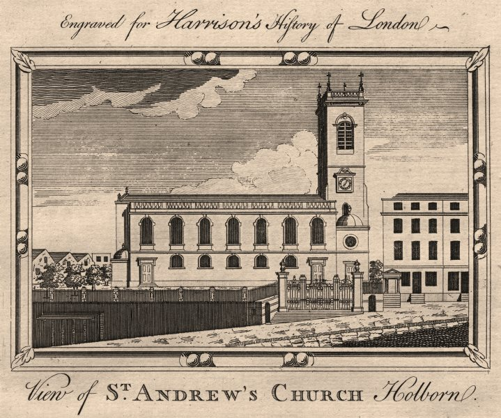 """Associate Product """"View of St Andrews Church, Holborn"""", London. HARRISON 1776 old antique print"""