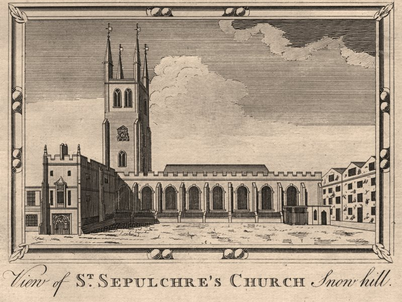Associate Product St Sepulchre-without-Newgate, Snowhill. Holborn Viaduct. HARRISON 1776 print