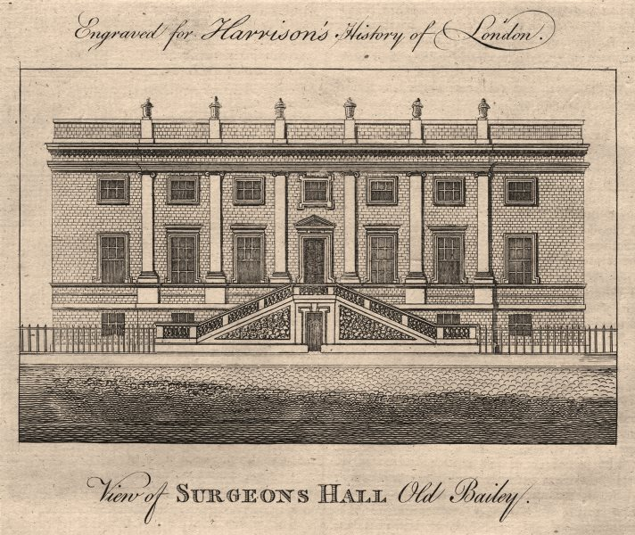 """Associate Product """"View of Surgeons Hall, Old Bailey"""", London. HARRISON 1776 antique print"""