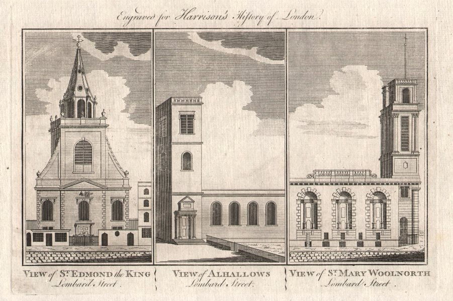 Associate Product CITY CHURCHES St Edmund the King. All Hallows. St Mary Woolnoth. Lombard St 1776
