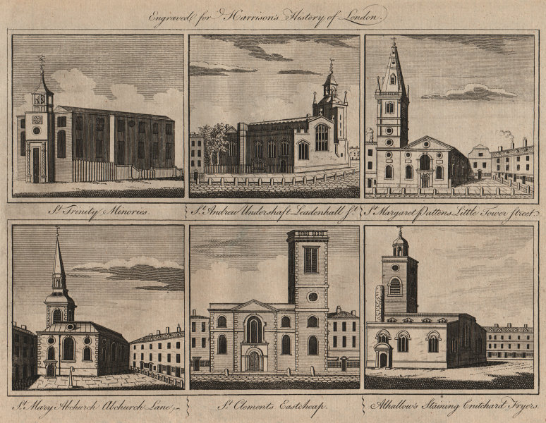 Associate Product CITY CHURCHES Holy Trinity Minories St Andrew Undershaft Margaret Pattens 1776