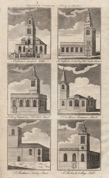 Associate Product WREN CITY CHURCHES St James Nicolas Coleabby Mary Magdalen Swithin Matthew 1776