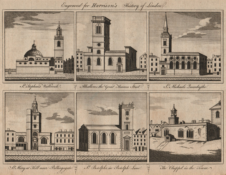Associate Product CITY CHURCHES St Stephen Walbrook. St Michael Queenhithe. St Mary at Hill 1776