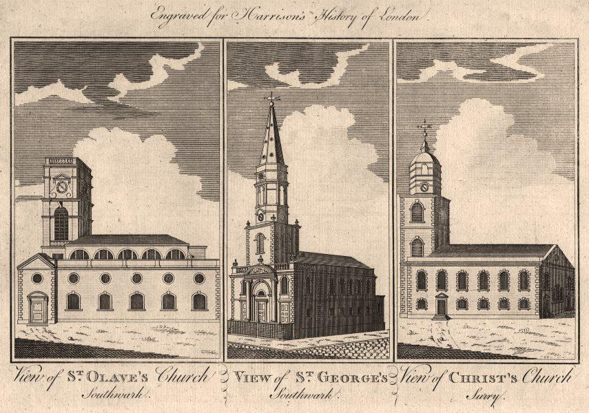 SOUTHWARK CHURCHES St Olave, Tooley St. St George-the-Martyr. Christ Church 1776