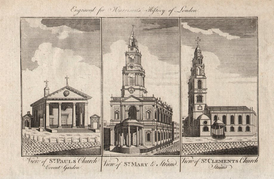 Associate Product LONDON CHURCHES St Paul's Covent Garden St Mary-le-Strand St Clement Danes 1776