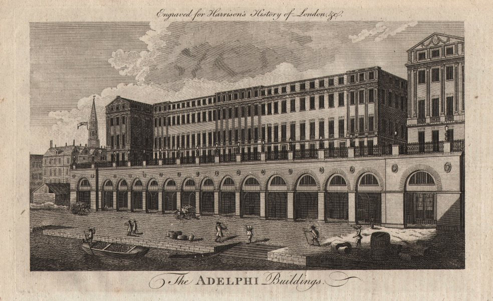 """""""The Adelphi buildings"""", the Strand, London. HARRISON 1776 old antique print"""