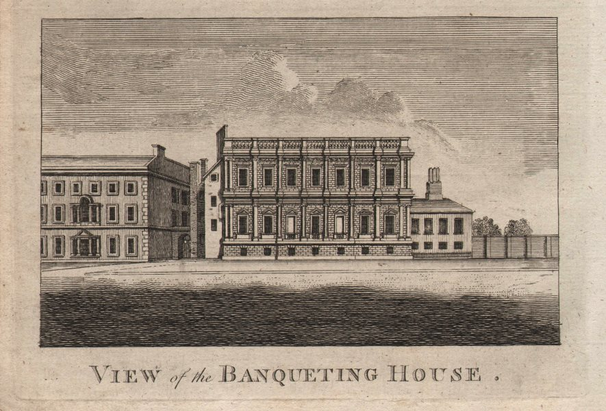 """Associate Product """"View of the Banqueting House"""", Whitehall, London. HARRISON 1776 old print"""