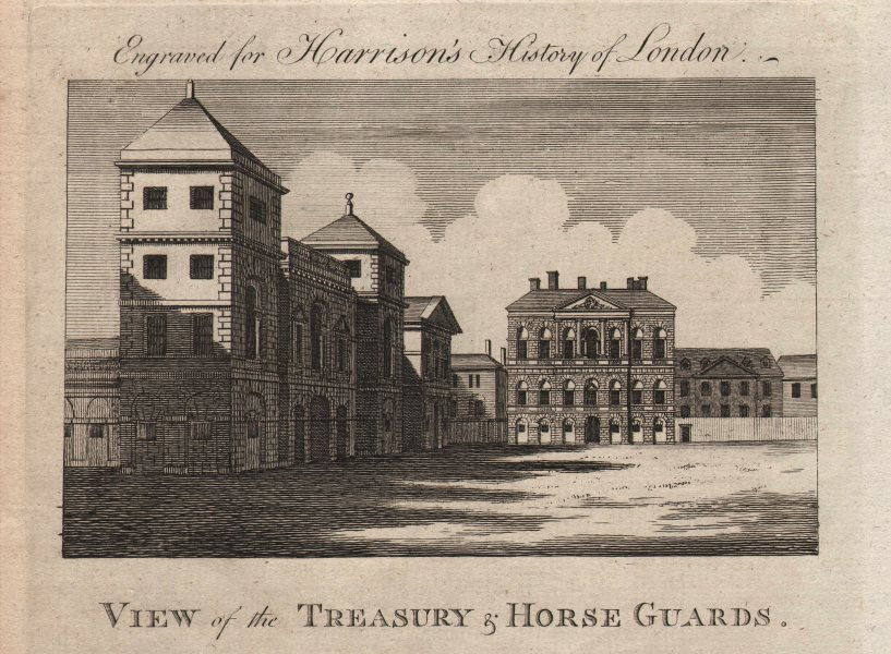 """Associate Product """"View of the Treasury & Horse Guards"""", Whitehall, London. HARRISON 1776 print"""