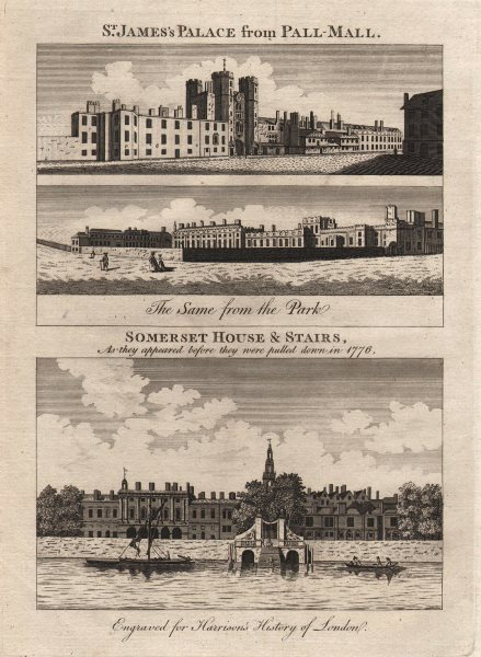 Associate Product St James's Palace from Pall Mall/ St James's Park. Somerset House. HARRISON 1776