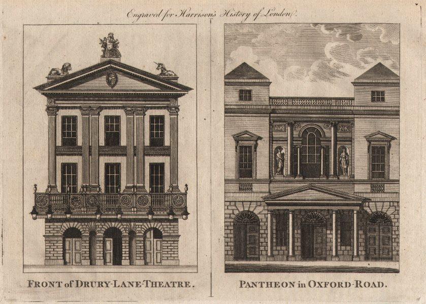"""Front of Drury Lane Theatre. Pantheon in Oxford Road"". HARRISON 1776 print"