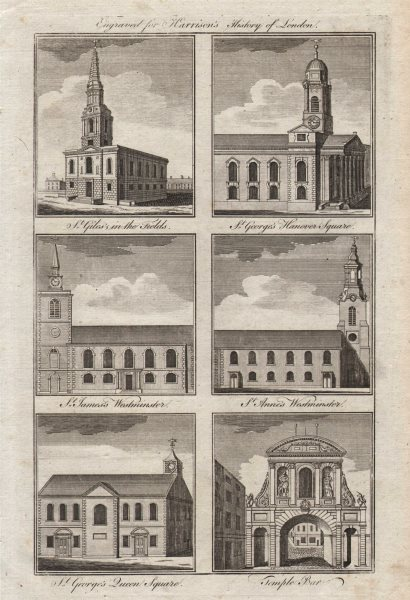 Associate Product St Giles/Fields George Hanover Sq/Martyr James Piccadilly Anne Soho 1776 print